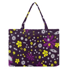 Flowers Floral Background Colorful Vintage Retro Busy Wallpaper Medium Zipper Tote Bag by Simbadda