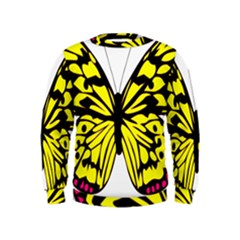 Yellow A Colorful Butterfly Image Kids  Sweatshirt