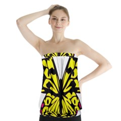 Yellow A Colorful Butterfly Image Strapless Top by Simbadda