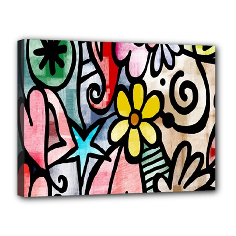 Digitally Painted Abstract Doodle Texture Canvas 16  X 12  by Simbadda