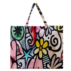 Digitally Painted Abstract Doodle Texture Zipper Large Tote Bag by Simbadda