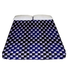 Squares Blue Background Fitted Sheet (queen Size) by Simbadda