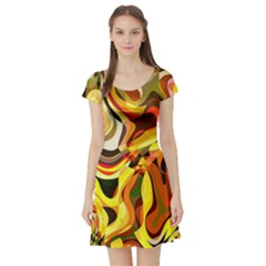 Colourful Abstract Background Design Short Sleeve Skater Dress