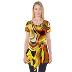 Colourful Abstract Background Design Short Sleeve Tunic  by Simbadda