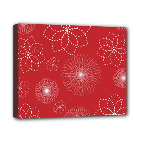 Floral Spirals Wallpaper Background Red Pattern Canvas 10  X 8  by Simbadda