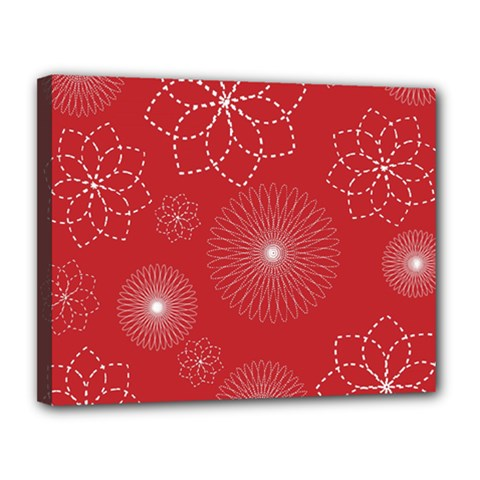 Floral Spirals Wallpaper Background Red Pattern Canvas 14  X 11  by Simbadda