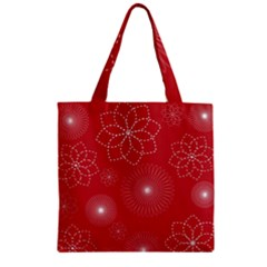 Floral Spirals Wallpaper Background Red Pattern Zipper Grocery Tote Bag by Simbadda