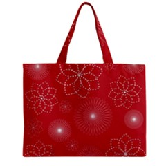 Floral Spirals Wallpaper Background Red Pattern Zipper Mini Tote Bag by Simbadda