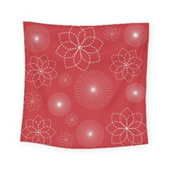 Floral Spirals Wallpaper Background Red Pattern Square Tapestry (small)