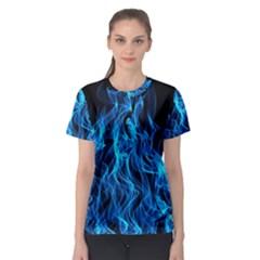 Digitally Created Blue Flames Of Fire Women s Sport Mesh Tee by Simbadda