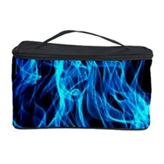 Digitally Created Blue Flames Of Fire Cosmetic Storage Case by Simbadda
