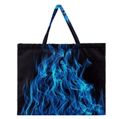Digitally Created Blue Flames Of Fire Zipper Large Tote Bag by Simbadda