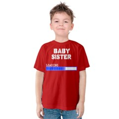 Red Baby Sister Brother Birth Announcement Loading Kids  Cotton Tee by ThinkOutisdeTheBox