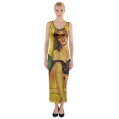 Pin up girl  Fitted Maxi Dress by Valentinaart