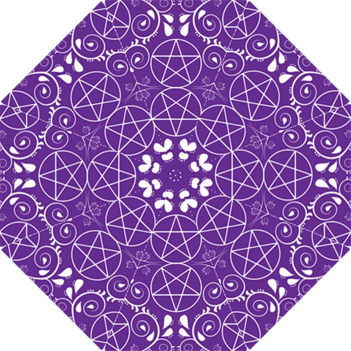 Purple with White Pagan Pentacle Wiccan Folding Umbrella