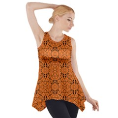 Orange With Black Pagan Pentacles Wiccan Side Drop Tank Tunic