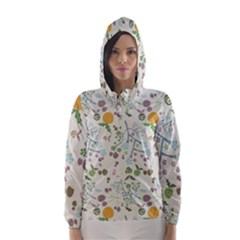 Floral Kraft Seamless Pattern Hooded Wind Breaker (women) by Simbadda