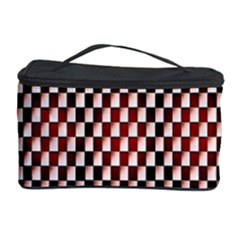 Squares Red Background Cosmetic Storage Case by Simbadda