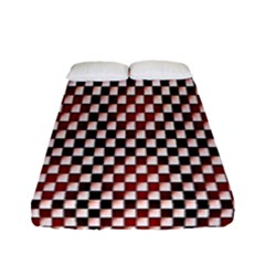 Squares Red Background Fitted Sheet (full/ Double Size) by Simbadda