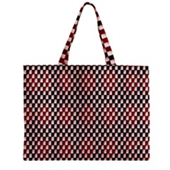 Squares Red Background Zipper Mini Tote Bag by Simbadda