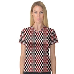 Squares Red Background Women s V Neck Sport Mesh Tee