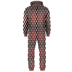 Squares Red Background Hooded Jumpsuit (men)