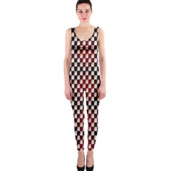 Squares Red Background Onepiece Catsuit by Simbadda