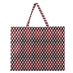 Squares Red Background Zipper Large Tote Bag by Simbadda