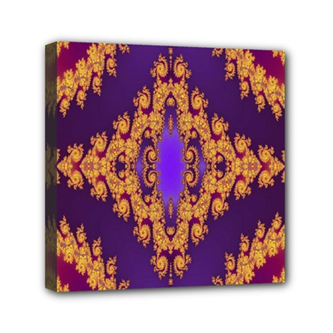 Something Different Fractal In Orange And Blue Mini Canvas 6  X 6  by Simbadda