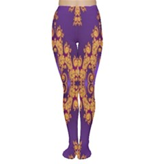 Something Different Fractal In Orange And Blue Women s Tights