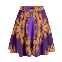 Something Different Fractal In Orange And Blue High Waist Skirt by Simbadda