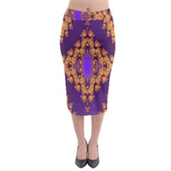 Something Different Fractal In Orange And Blue Midi Pencil Skirt by Simbadda