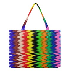 Colorful Liquid Zigzag Stripes Background Wallpaper Medium Tote Bag by Simbadda