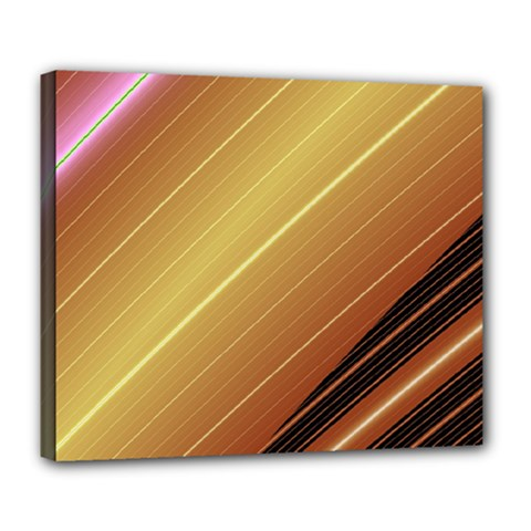 Diagonal Color Fractal Stripes In 3d Glass Frame Deluxe Canvas 24  X 20   by Simbadda