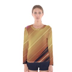 Diagonal Color Fractal Stripes In 3d Glass Frame Women s Long Sleeve Tee