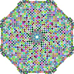 Colorful Dots Balls On White Background Folding Umbrellas by Simbadda