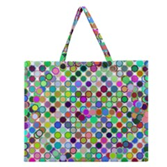 Colorful Dots Balls On White Background Zipper Large Tote Bag by Simbadda