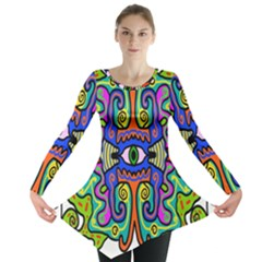 Abstract Shape Doodle Thing Long Sleeve Tunic