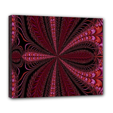 Red Ribbon Effect Newtonian Fractal Deluxe Canvas 24  X 20   by Simbadda