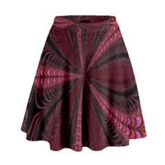 Red Ribbon Effect Newtonian Fractal High Waist Skirt by Simbadda