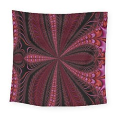 Red Ribbon Effect Newtonian Fractal Square Tapestry (large) by Simbadda