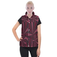 Red Ribbon Effect Newtonian Fractal Women s Button Up Puffer Vest