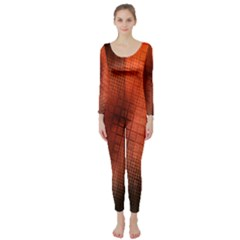 Background Technical Design With Orange Colors And Details Long Sleeve Catsuit
