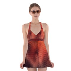 Background Technical Design With Orange Colors And Details Halter Swimsuit Dress