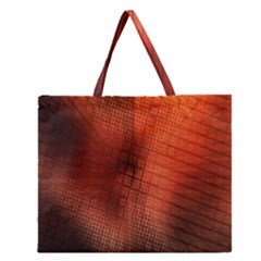Background Technical Design With Orange Colors And Details Zipper Large Tote Bag by Simbadda