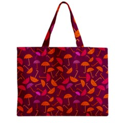 Umbrella Seamless Pattern Pink Lila Medium Zipper Tote Bag by Simbadda
