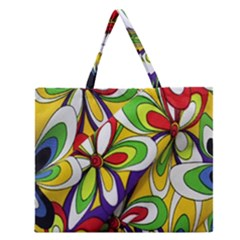 Colorful Textile Background Zipper Large Tote Bag by Simbadda