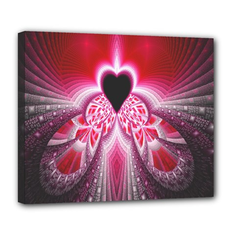 Illuminated Red Hear Red Heart Background With Light Effects Deluxe Canvas 24  X 20   by Simbadda