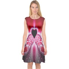 Illuminated Red Hear Red Heart Background With Light Effects Capsleeve Midi Dress by Simbadda