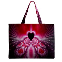 Illuminated Red Hear Red Heart Background With Light Effects Medium Tote Bag by Simbadda